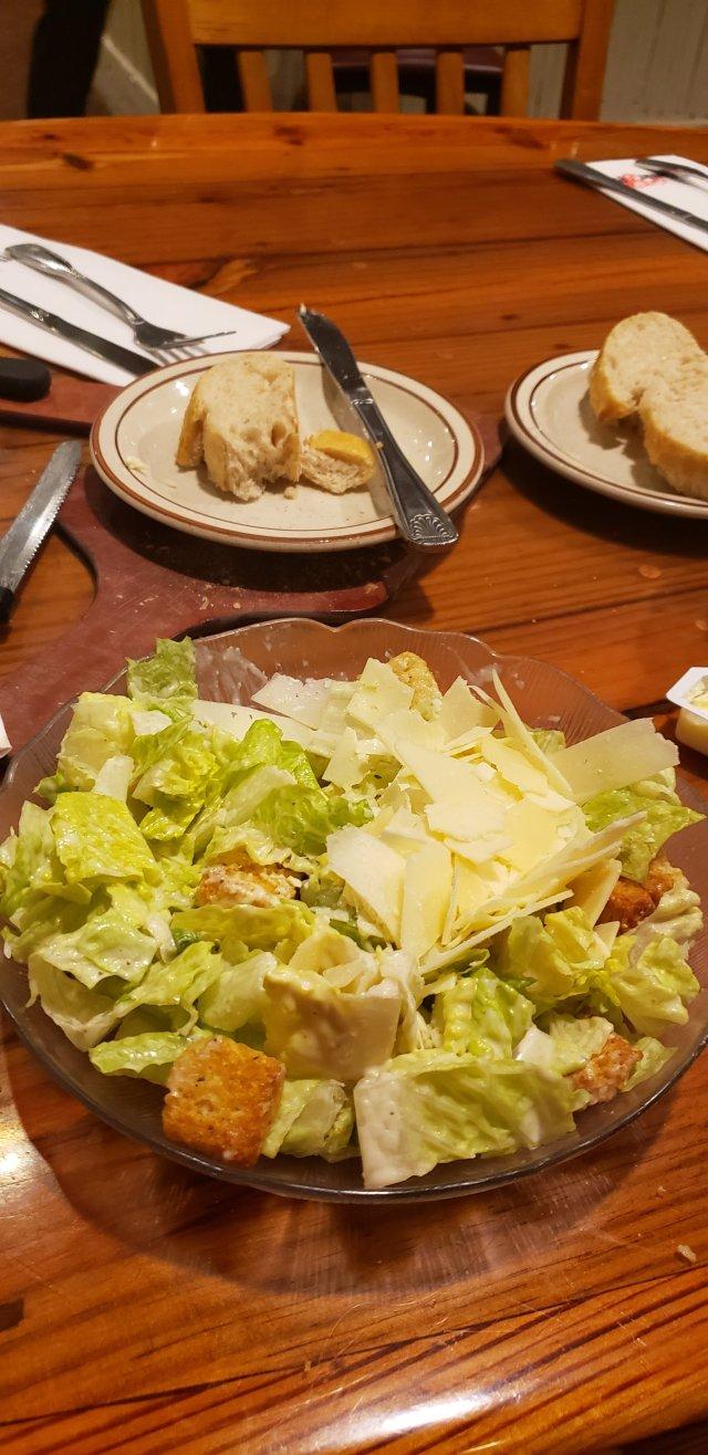 Ceasar salad at chowder pot